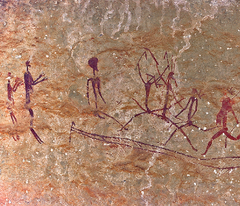 ancient cave painting of human figures